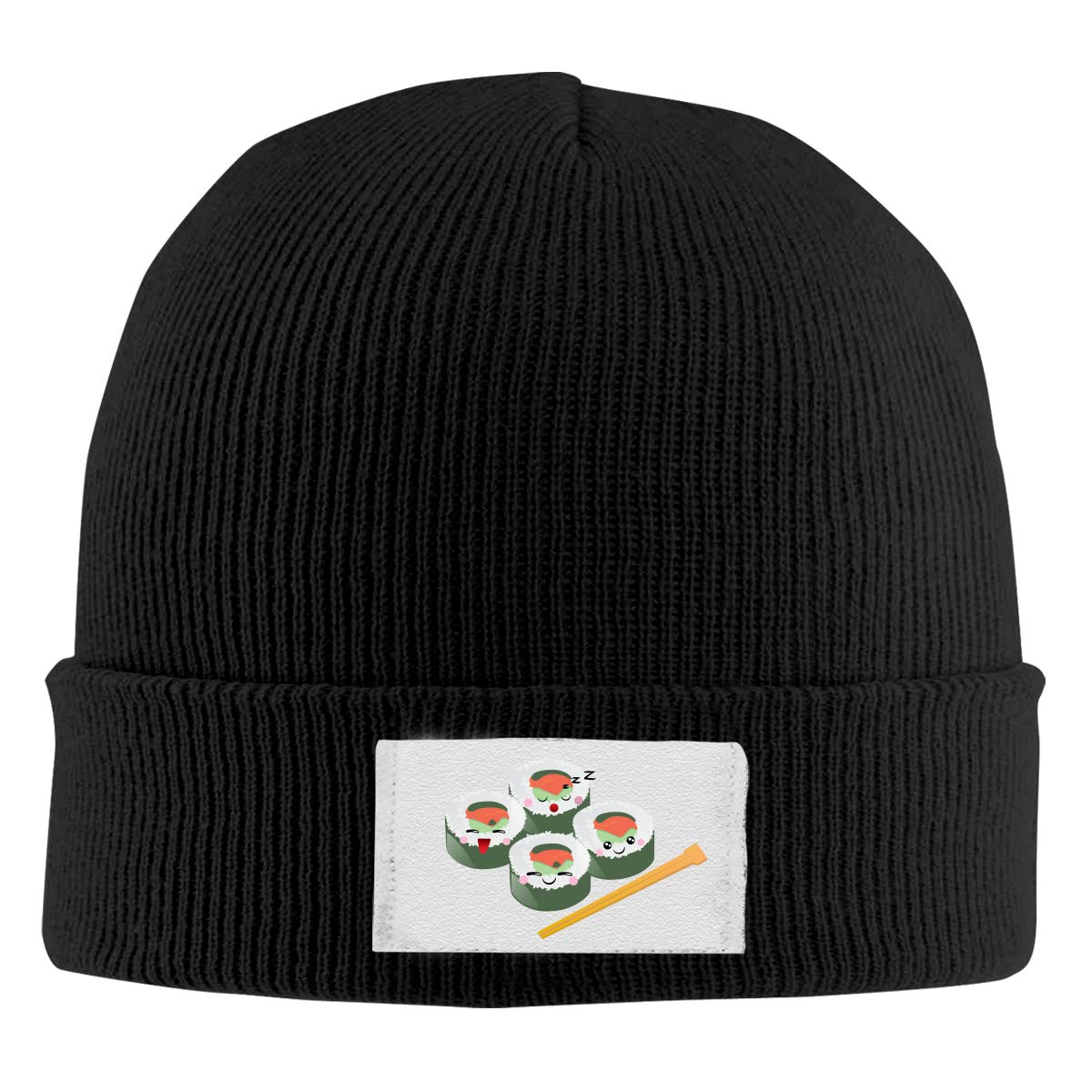 Dunpaiaa Skull Caps Sushi Logo Winter Warm Knit Hats Stretchy Cuff Beanie Hat Black