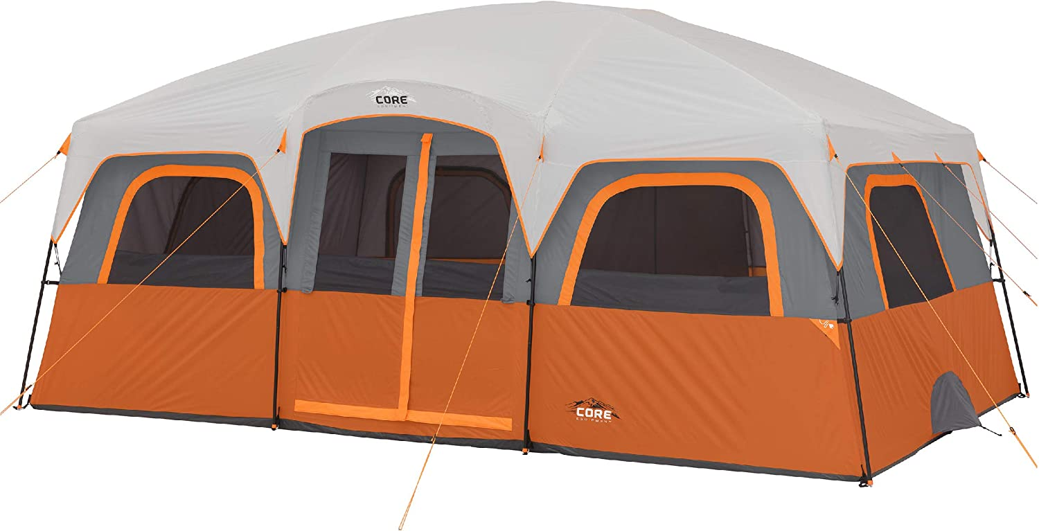 CORE 12 Person Extra Large Straight Wall Cabin Tent – 16 x 11