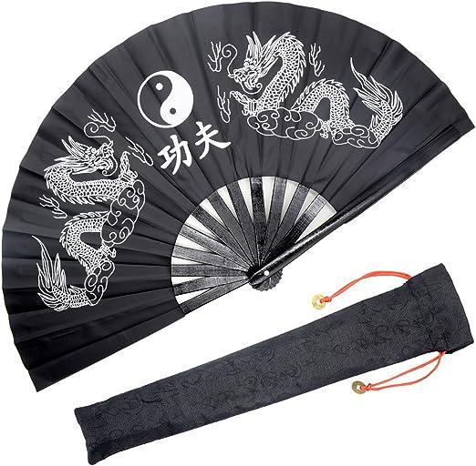 Chinese Japanese Kung OMyTea Bamboo Large Rave Folding Hand Fan for Men//Women