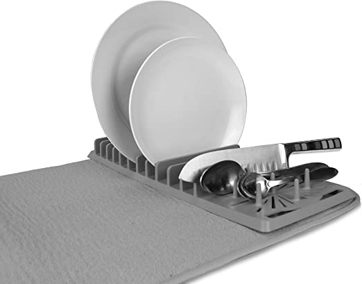 Amazon Com Cuisinart Dish Drying Rack And Ultra Absorbent Kitchen Dish Drying Mat 100 Microfiber Polyester 16 X 18 Inches Drizzle Grey Kitchen Dining