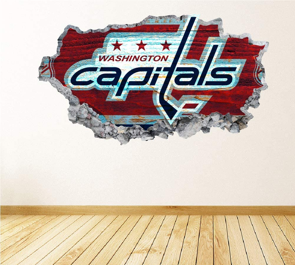 Hockey Washington Team Wall Decals Art 3D Smashed Fan Capitals Wall Decor Bedroom Garage Removable Vinyl Wall Stickers Gift WL64