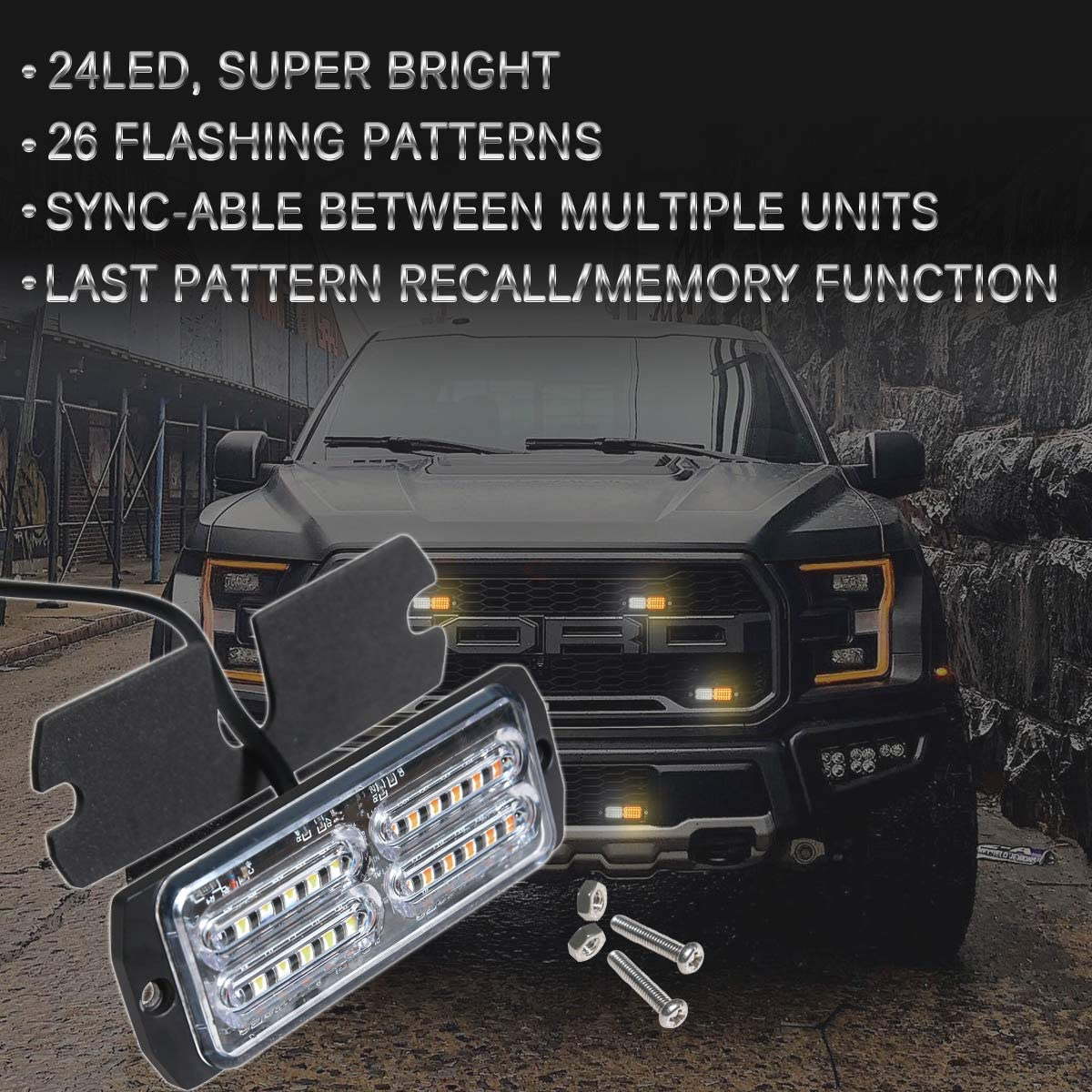 Waterproof Flashing Beacon Light with Digital Display Controller Upgraded Lumenix 4-Pack 12LED Sync Feature Surface Mount Emergency Hazard Warning Strobe Light for Truck Car Vehicle Amber//White