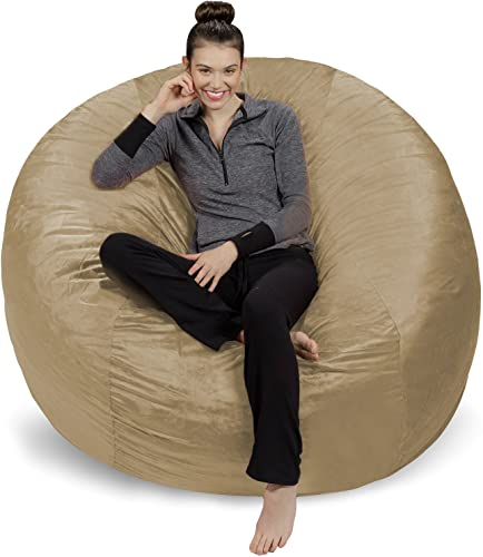 Sofa Sack – Plush Ultra Soft Bean Bags Chairs for Kids, Teens, Adults – Memory Foam Beanless Bag Chair with Microsuede Cover – Foam Filled Furniture for Dorm Room – Camel 6