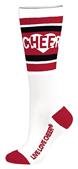 93536dc5c60 Amazon.com  Chassé girls Chassé Knee-High Love To Cheer Sock-Red ...