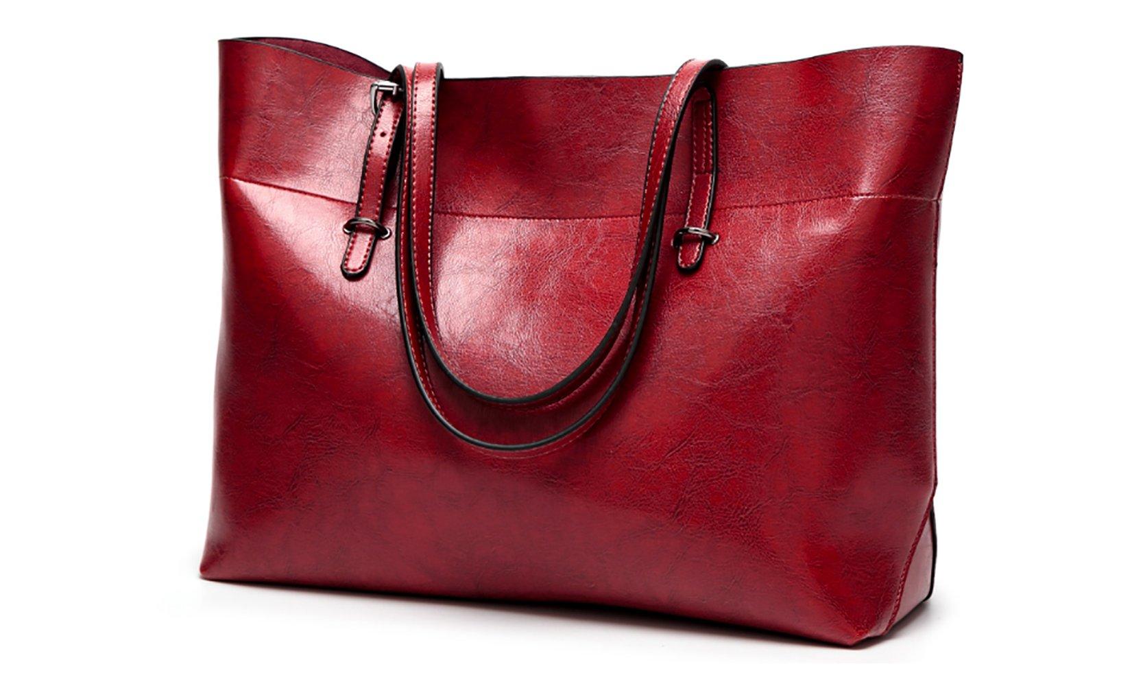 Women's Vintage Fine Fibre Genuine Leather Bag Tote Shoulder Bag Handbag Model Sie Red Wine