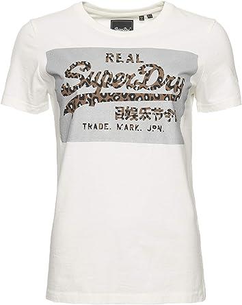 Superdry Mujer Camiseta de Corte Cuadrado, Reflectante y con Logo Vintage: Amazon.es: Ropa y accesorios
