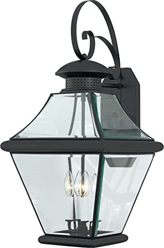 Luxury Vintage Outdoor Wall Light, Large Size 19.25 H x 8 W, with Industrial Style Elements, Historic Design, Royal Bronze Finish and Seeded Glass, Includes Edison Bulb, UQL1222 by Urban Ambiance