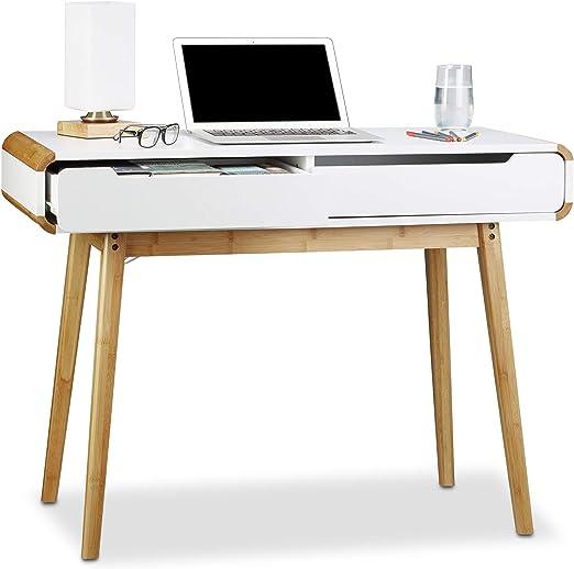 Relaxdays Escritorio con cajones, diseño nórdico, Lavabo ...