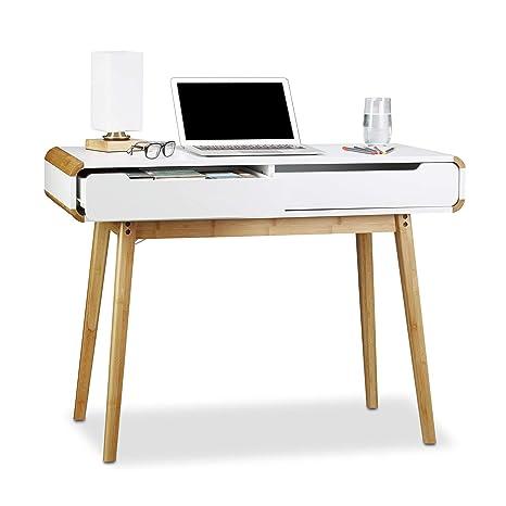 Scrittoio Per Scrivania.Relaxdays Scrivania Con Cassetti Design Nordico Ideale Come Toeletta O Come Scrittoio Per Bambini 73 X 100 X 45 Cm Bianco