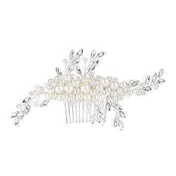 47d8ea664b Amazon.com: FANZE Women's Silver-Tone Simulated Pearl Lots Leaves ...