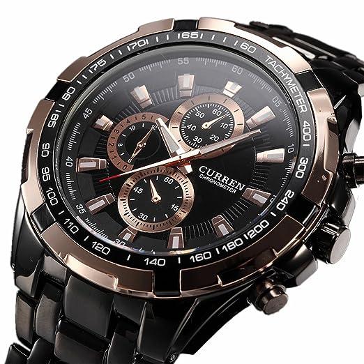 Precisión de acero de tungsteno de cuarzo Curren Inveted Vogue Business para hombre Big reloj 3 ATM impermeable negro oro: Amazon.es: Relojes