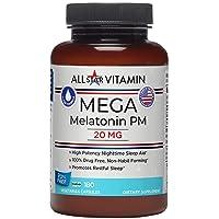 All-Star Vitamin Mega-Melatonin PM, 20 mg, High-Potency, 180 Vegetarian Capsules, Clean-Formulated, Non-GMO, Gluten Free, Vegan, Sleep, Rest, Drug Free, Jetlag
