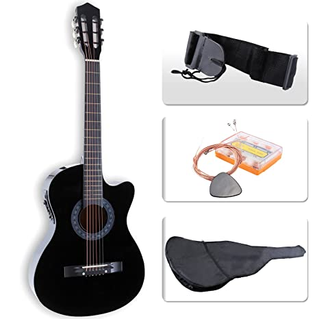Lagrima eléctrica guitarra acústica con diseño con funda para guitarra, color negro