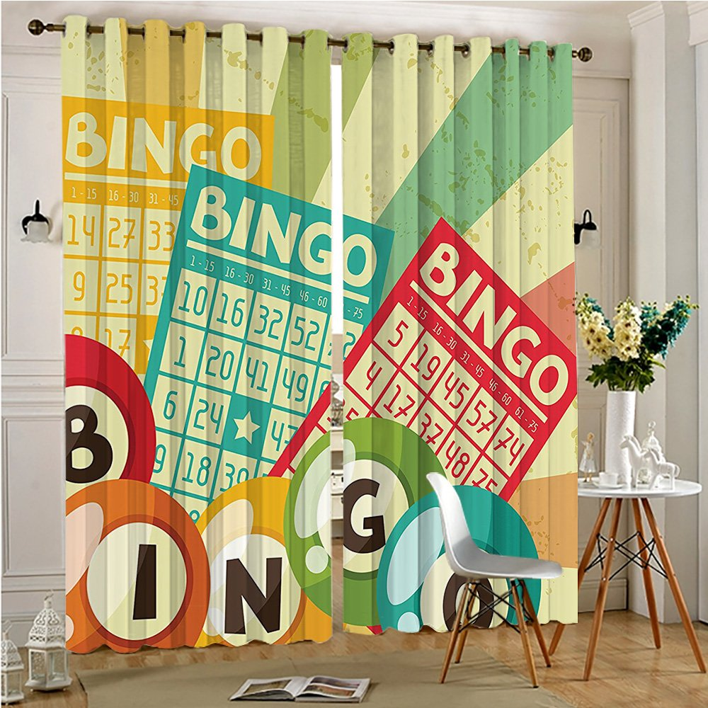 alichenzhi Darkening Grommet Unlined Window Curtains Bingo Game with Ball and Cards Pop Stylized Lottery Hobby Celebration Theme Multi Set of Two Panels(2 Panels, 54'' x 84'') by alichenzhi
