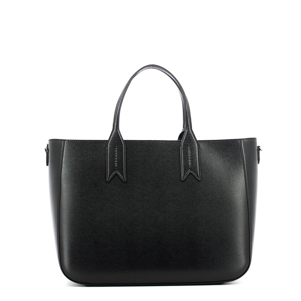 8992ca78fc97 Emporio Armani Frida Black Textured Tote Bag Black Leather  Amazon.co.uk   Shoes   Bags