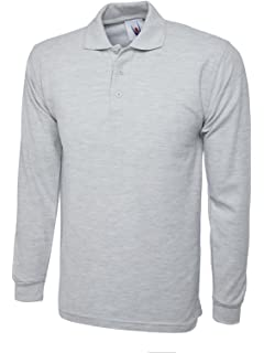 Uneek Men/'s Plain Long Sleeve Pique Polo Shirt Top Workwear T-Shirt XS-4XL UC113