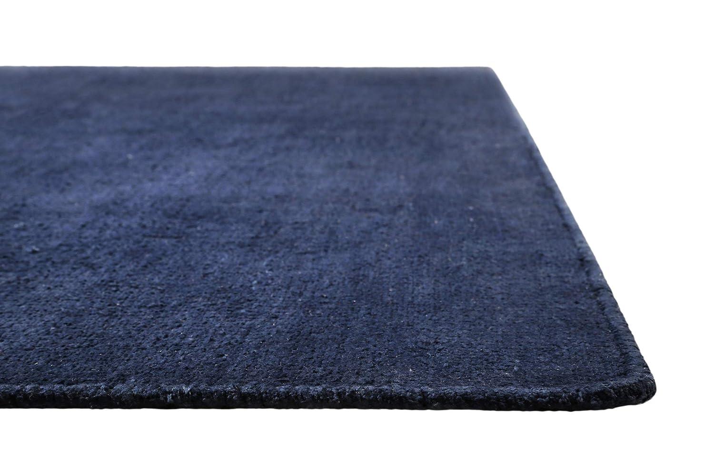 Grün Looop I Moderner Kurzflor Kelim Teppich - Läufer für Wohnzimmer, Flur, Schlafzimmer, Kinderzimmer I Grasse I (130 x 190 cm, Blau)