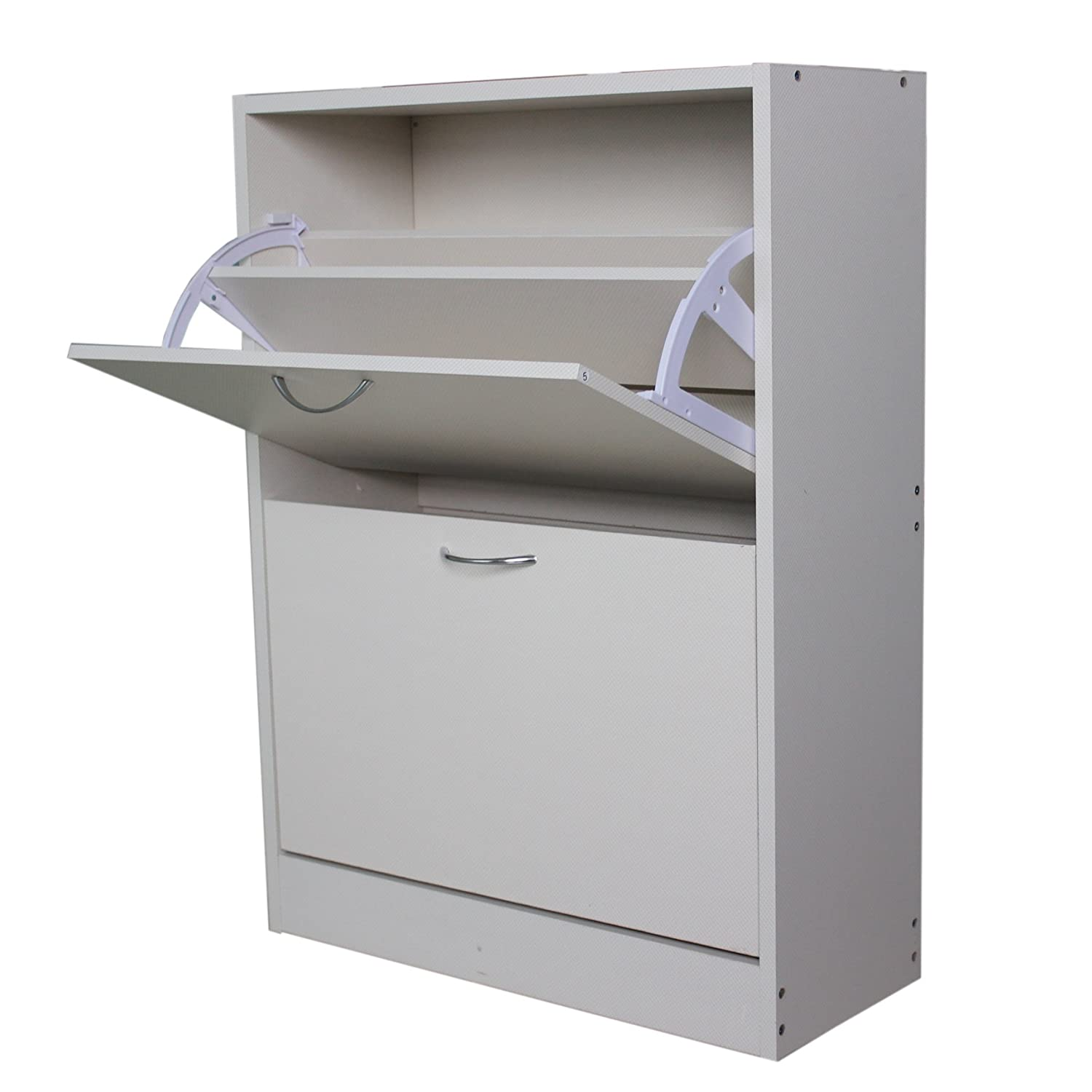 WestWood Wooden Shoe Storage Cabinet 2 Drawer Footwear Stand Rack Unit Cupboard Furniture Organizer White New KMS