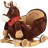 Dunjo® caballo balancín con módulo de sonido, con cinturon de seguridad y ruedas para rodar también! 66283