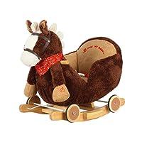 Dunjo Cavallino a dondolo marron scuro con poltroncina in peluche, basculante in legno per dondolare, ruote per andare al galoppo e divertentissima suoneria