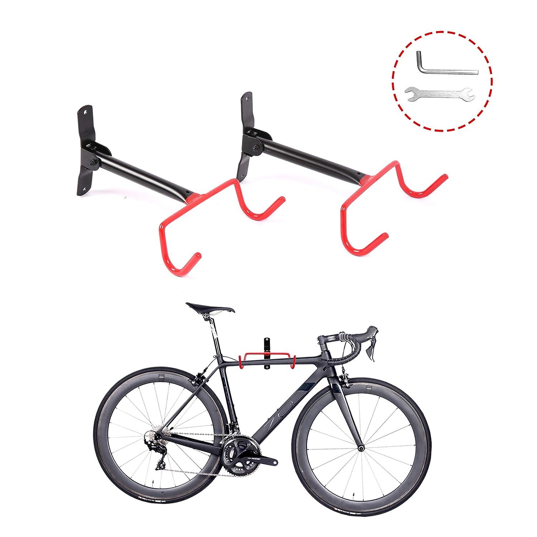 JRS Wall Mount Bike Hunger 2Pcs Bicycle Indoor Storage Rack, Garage Bike Holder with Screws