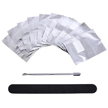 Papel de Quitaesmaltes Papel de Aluminio Removedor de Esmaltes de Acrílico con Removedor de Cutícula y Lima de Uña de Abrasivo de Doble Cara: Amazon.es: ...