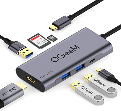 Space Grey USB C Hub,Beeasy USB C Adapter with 4K HDMI Port,3 USB 3.0 Ports,MicroSD//SD Card Reader,USB-C Charging Port,Portable for Mackbook,Mac Pro,iMac 2018,Surface and Other Type C Laptops,7 in 1