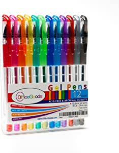 OfficeGoods Gel Pen Glitter 12 Piece Set - Premium Bright Colors for Kids and Adults – Vivid and Fast Drying Ink, Great for Arts and Crafts - Fun for Everyone