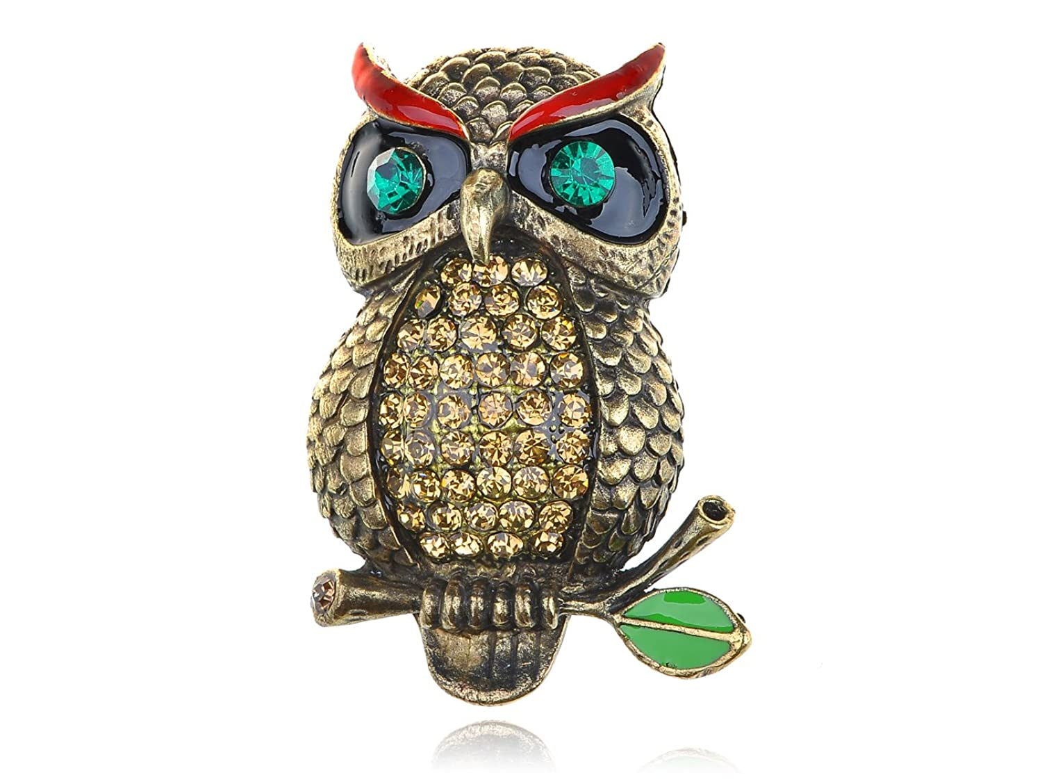 Alilang Antique Golden Tone Light Multicolored Rhinestones Mean Eyebrows Owl Bird Brooch Pin
