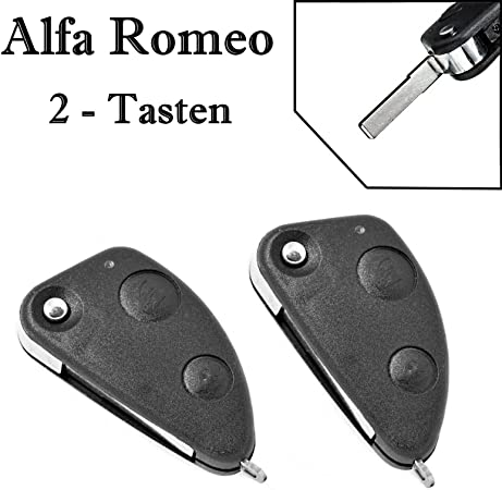 2x Ersatz Klappschlüssel Auto Schlüssel Gehäuse Für 2 Tasten Funk Fernbedienung Mit Rohling Alfa Romeo Ks01neu Auto