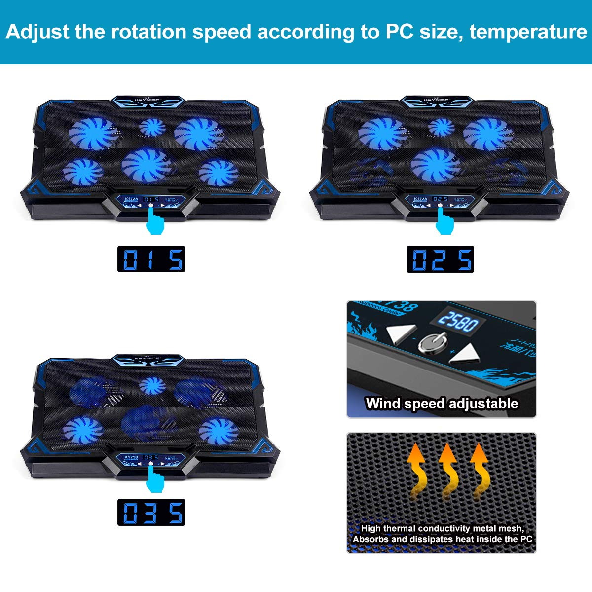 KEYNICE Laptop Cooling Pad, Notebook Cooler with 6 Quiet Fan, Dual USB Port, 5 Wind Speed Adjustable, Blue LED Light, Fit 12''-17'' Computer, Portable Cooler Pad with LCD Screen, Gaming Laptop Cooler by KEYNICE (Image #4)