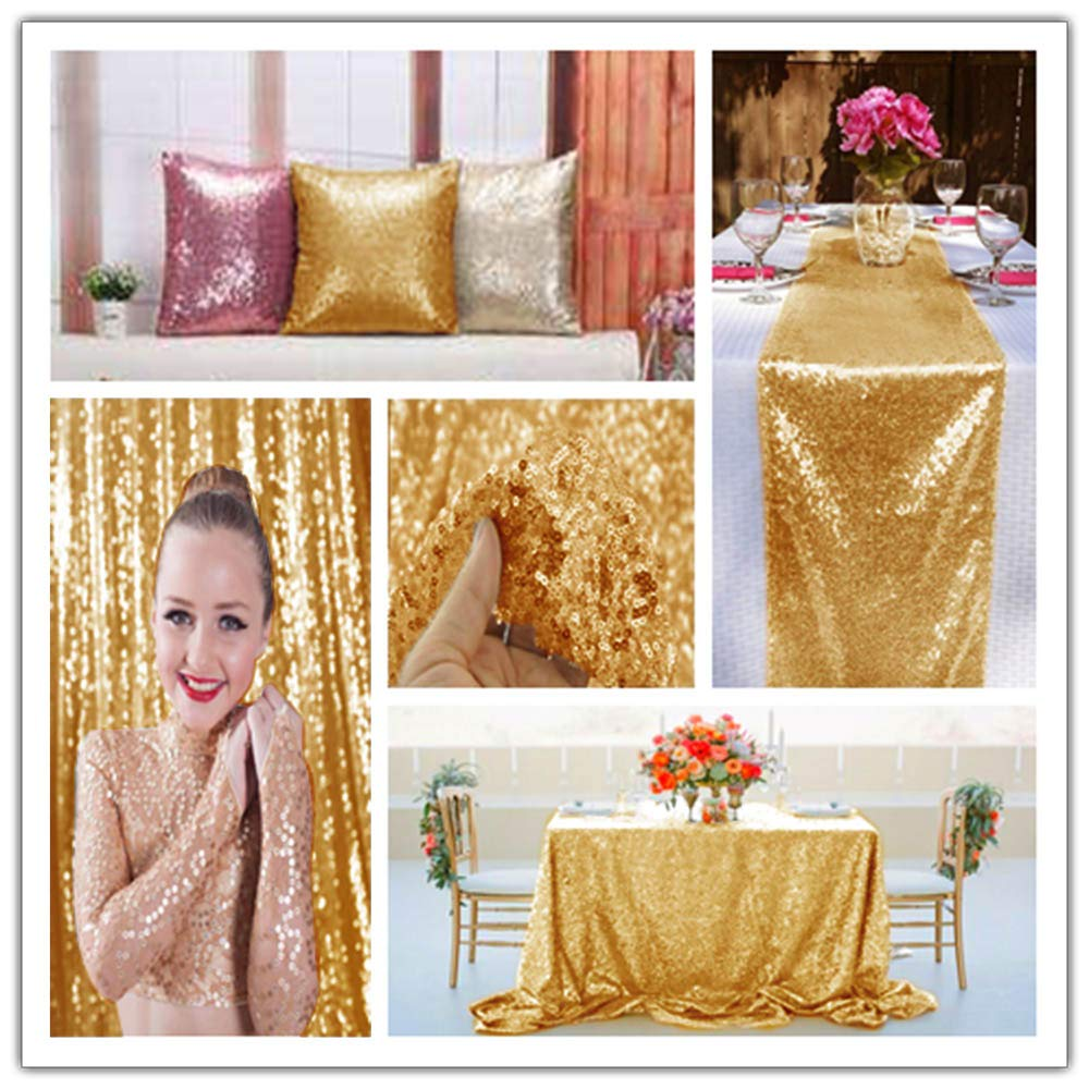 Gold Sequin Fabric 30FT 10 Yards Baby Shower Decorations in Shiny Gold Sparkly Fabric for Sewing ~0818S by ShiDianYi (Image #4)