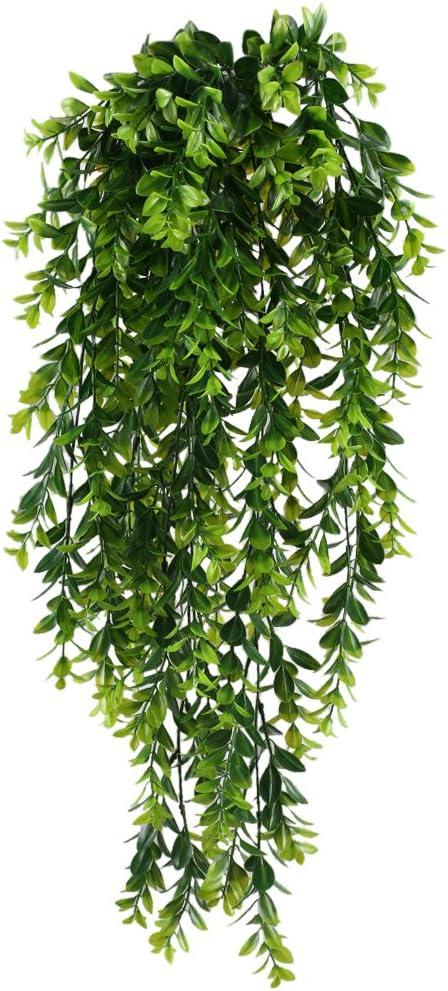 MIHOUNION Künstliche Hängepflanzen 2 Pcs Plastikpflanzen Hängend Künstliche  Hängepflanzen Lang Grüne Pflanzen für Innen Äußer Zuhause Büro Balkon ...