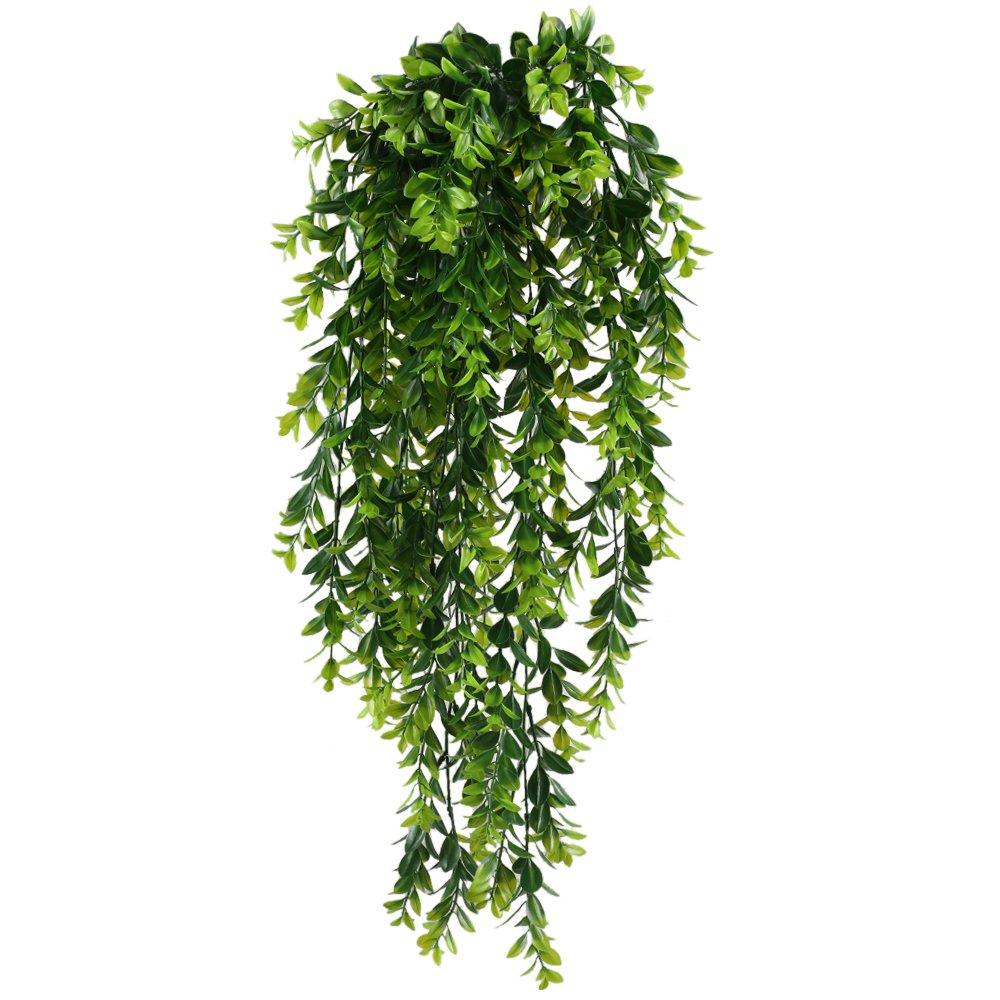 MIHOUNION 2PCS edera artificiale cadente piante artificiali pendenti rampicanti piante di plastica piante finte vasi piante artificiali da ufficio piante ornamentali artificiali da esterno interno