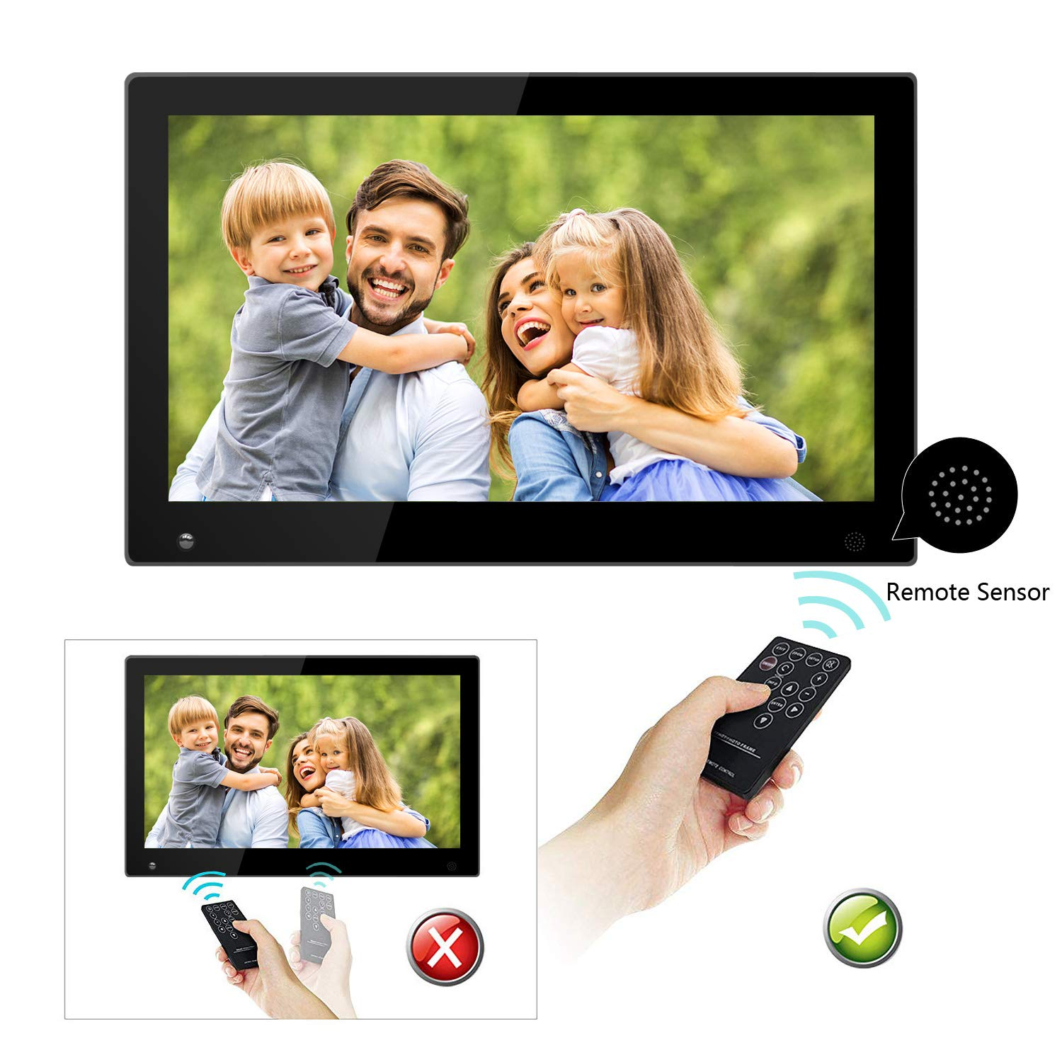 15.6 Inch Large Digital Picture Frame with Hu Motion Sensor LCD Advertising Player with 1080P LCD AV HDMI Input VESA Full IPS Remote by SSA (Image #7)