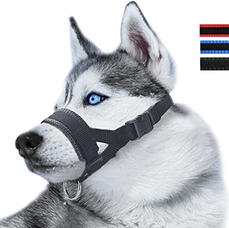 S, Blu SlowTon Museruola per Cane in Nylon con Anello Regolabile per Cani di Grossa Taglia Contro morsi e abbaio