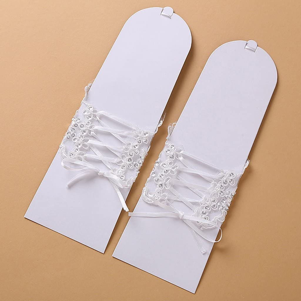 SimpleLife Frauen Finger kurzen Absatz Elegante Strass Hochzeit Handschuhe Fingerlose Braut Spitze Handschuhe f/ür Party