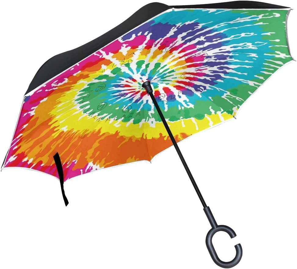 Classic Tie Dye Spiral Automatic Windproof Travel Umbrella Compact Canopy With Black Glue And UV-resistant Coating