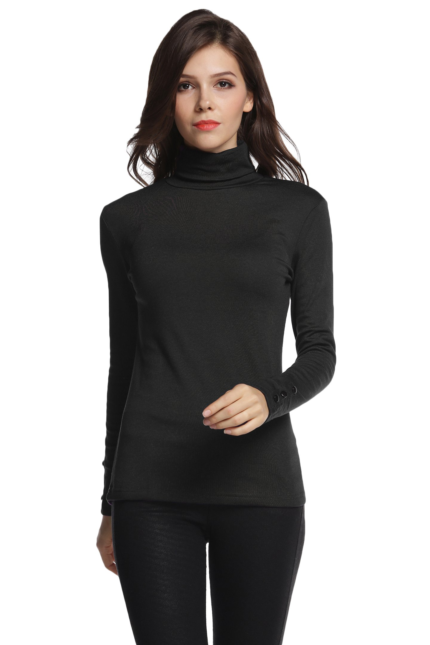 Sofishie Long Sleeve Shirt with Turtle-Neck - Black - Large