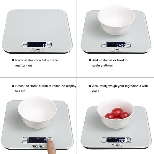 Homdox 02360 Báscula de Cocina Digital 15 kg Color Blanco: Amazon.es: Hogar