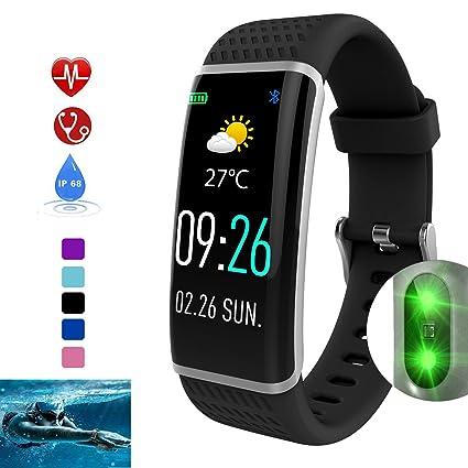 DUWIN Smartwatch con Pulsómetro,Impermeable IP68 Reloj Inteligente,Fitness Tracker con cronómetro,Monitor de Ritmo cardíaco,Podómetro,Pulsera ...