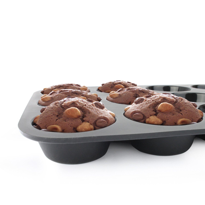 Belmalia Molde para Magdalenas, Silicona, 33 x 25 x 3 cm, 12 Panecillos, Recubrimiento Antiadherente, Cupcake Brownie Budín Latta de Mollete Muffin Bandeja ...