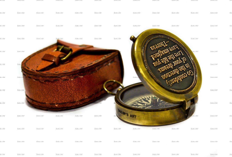 Sailor 's Art Thoreau 's Go Confidently New Zitat Kompass mit Prägung Orange Leder Fall Antique Home Décor Artikel, ideal Geschenke