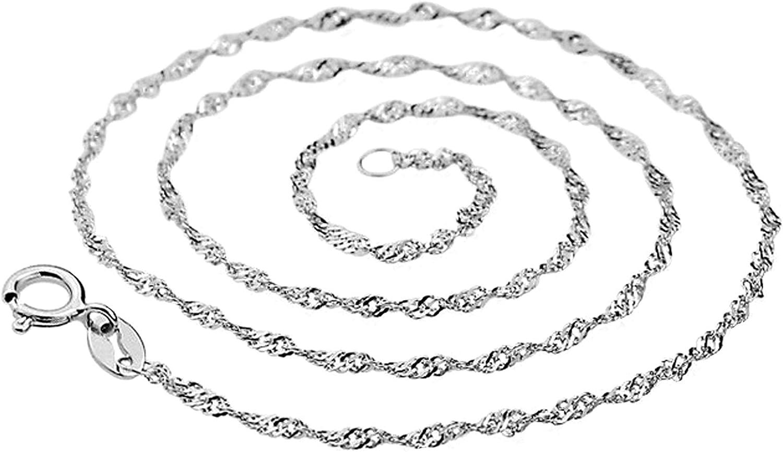 FAgdsyigao 16//18//20//22//24inch Necklace,Shiny Women Water Wave Choker Necklace Thin Chain Jewelry Silver 16 inch