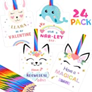 Valentines Day Cards for Kids - Set of 24 Rainbow Pencils Unicorn Valentines - Class Party Favors Valentine day cards Exchang
