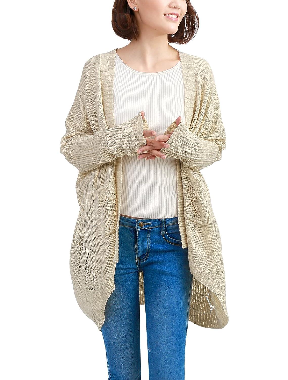 Allegra K Women Open Front Dolman Sleeves Casual Overized Spring Cardigan Jacket