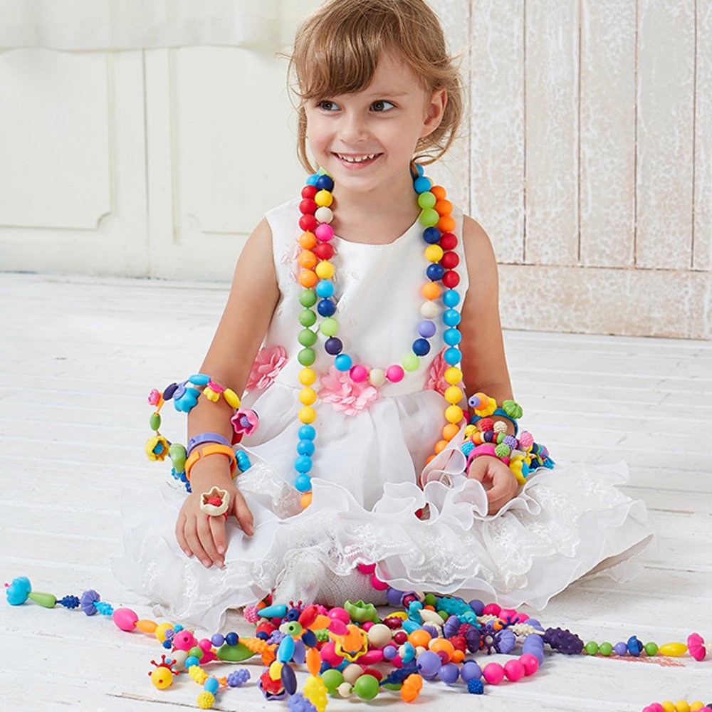 Pop Beads Set Girl Toy DIY Jewelry Making Kit for Necklace Earrings Bracelets and Anklets Gift for Girls Kids 85 Pieces
