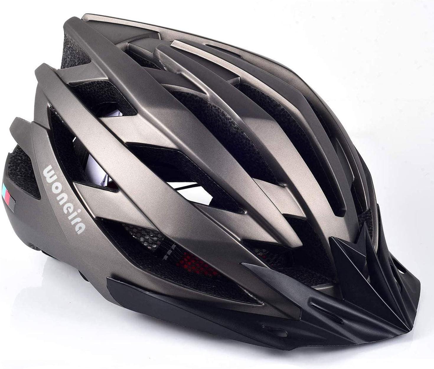 WONEIRA Bike Helmet, Bicycle Helmet with LED Light CPSC&CE Certified Adult Cycling Helmet for Men Women Adjustable Ultralight Stable Mountain & Road Biking Helmets