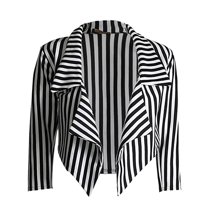 MIXLOT New Womens New Black White Stripe Print 3/4 Sleeve Open Front Waterfall Ladies Cropped Blazer Jacket Coat at Amazon Womens Clothing store: