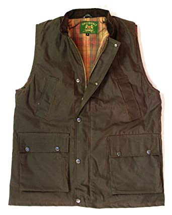 8c8c9d92d6f Mountain Pass New Mens Wax Gilet outdoor bodywarmer oiled waistcoat jacket  fishing hunting shooting farming Olive Green   Brown Sizes S-3XL  Amazon.co.uk   ...